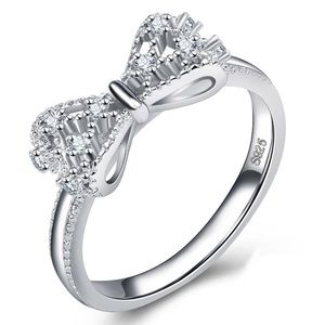 1.2ct Crystal Bowknot Design Sterling Silver Ring
